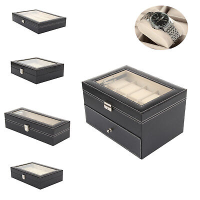 $ CDN27.93 • Buy Mens 6 12 20 24 Grid PU Leather Watch Display Case Collection Storage Holder Box
