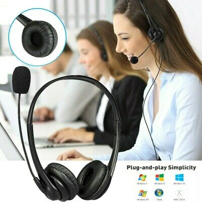 Wired USB Headphones Headset With Microphone MIC For Call PC Computer Laptop NEW • 10.19£