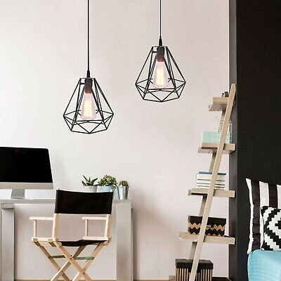 2x Modern Retro Wire Frame Ceiling Pendant Light Shades Lighting Lampshade Cover • 13.99£