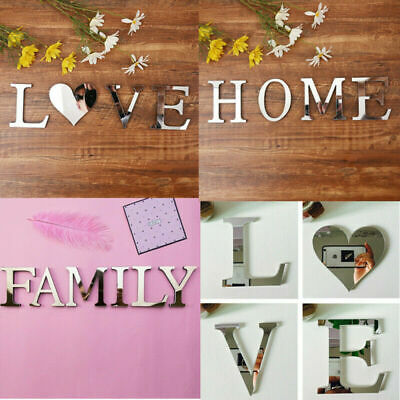 4 Letters Love Home Furniture Mirror Tiles Wall Sticker Self-Adhesive Art Decor • 4.29£