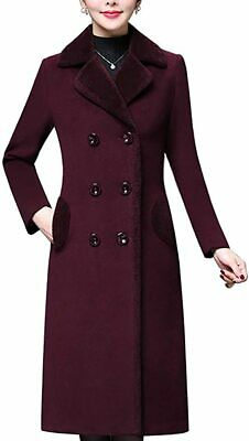 $177.32 • Buy Aprsfn Women's Double-Breasted Notched Lapel Midi Wool Blend Pea Coat Jackets