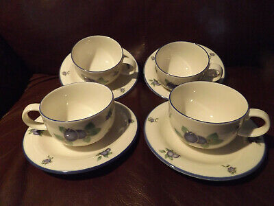 £14.99 • Buy 4 X Royal Doulton  Cups & Saucers Everyday Blueberry Tc 1204