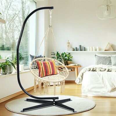 Weather Resistant Garden Hammock Chair Stand C-shape Hanging Shelf Deatchable • 99.99£