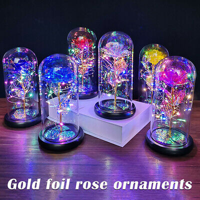 AU29.99 • Buy LED Galaxy Rose Flower Beauty And Beast Light In Glass Dome Valentine's Day Gift