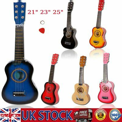 21  23  25  Inch Kids Wooden Acoustic Guitar Children Toy Gift W/Pick 6 Strings • 17.49£