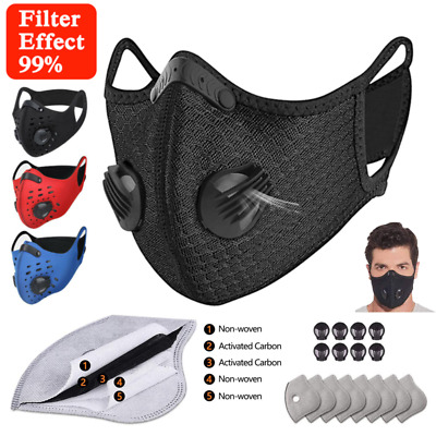 AU16.37 • Buy Sports Face Mask Reusable Breathable Valve Filters Nose Virus Dust Protect Cover