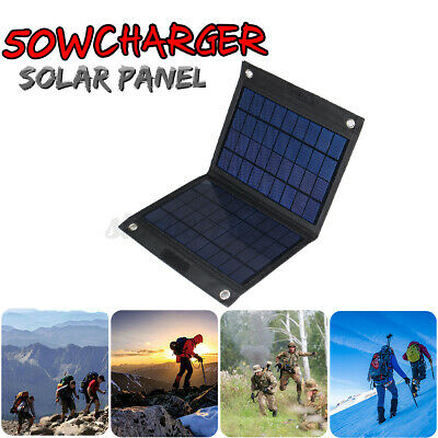 £20.49 • Buy 50W Foldable Solar Panel Solar Power Charger Panels Outdoor Camping Dual USB 18V