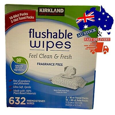 AU44.88 • Buy 632x Premoistened Kirkland Signature Flushable Wipes Fresh Clean Fragrance Free