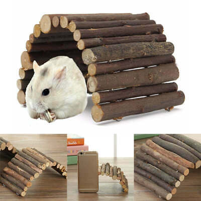 £3.94 • Buy Hamster Guinea Pig Natural Living Wooden House Cave Bridge Climb Ladder Toy