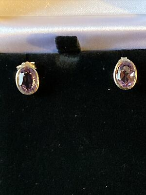 £8.99 • Buy Attractive Sterling Silver Amethyst Earrings Oval Marked 925