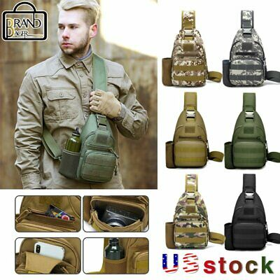 $13.99 • Buy Outdoor Men's Military Tactical Sling Chest Bag USB Travel Trekking Camping Pack
