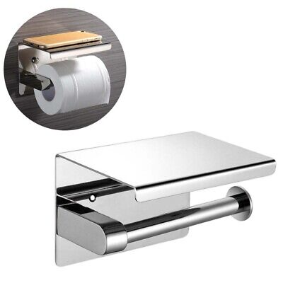 AU18.49 • Buy 304 Stainless Steel Toilet Paper Roll Holder With Phone Shelf Polished Chrome