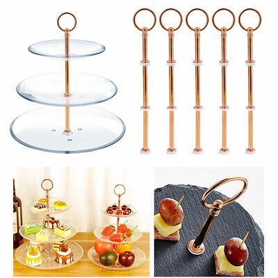 £9.35 • Buy 3 Tier Metal Cake Plates Stand Fittings Afternoon Tea Wedding Rose Gold X5