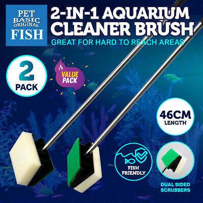 AU12.95 • Buy 2PK Aquarium Fish Tank Cleaner Brush 2-In-1 Glass Algae Soft/Scourer Sponge 46cm