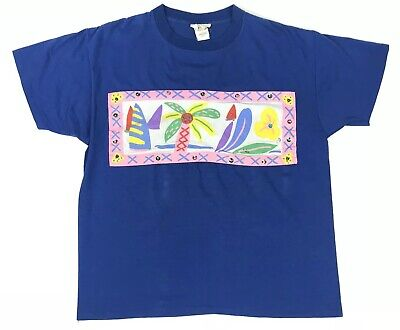 £17.74 • Buy 1980 Ken Done Vintage Hand Painted Original Palm Pearls Sailboat Graphic T-Shirt