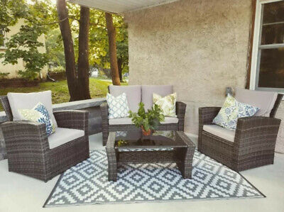 AU499 • Buy 4PCS Outdoor Furniture Setting Patio Wicker Chairs Table Set Lounge (Grey Rattan