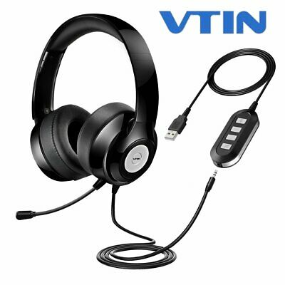 VTIN 3.5mm USB Stereo Computer Headset Headphones Microphone For Skype PC Laptop • 27.07£
