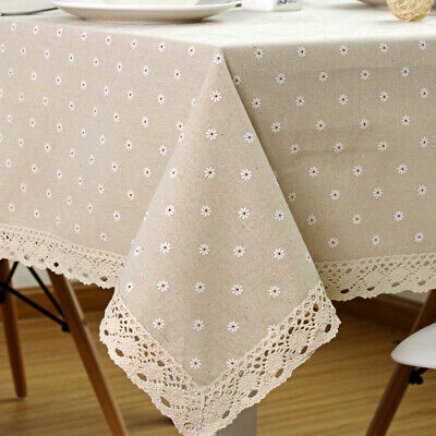AU16.23 • Buy Rectangle Square Tablecloth Table Cover Flower Pattern Dining Table Cloth W/Lace