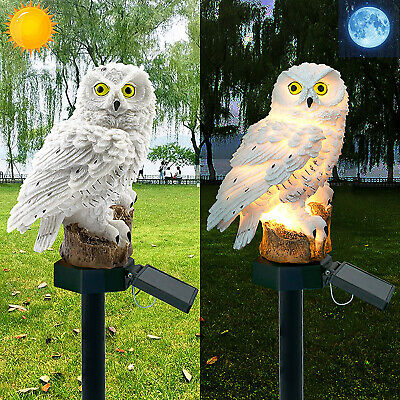 Solar Powered LED Garden Lights Owl Animal Lawn Ornament Waterproof Lamp Grey • 7.98£
