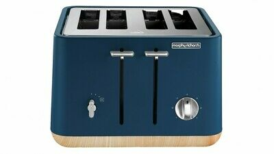 AU86 • Buy Morphy Richards Scandi Stainless Steel 4 Slices Slots Bread Toaster Blue