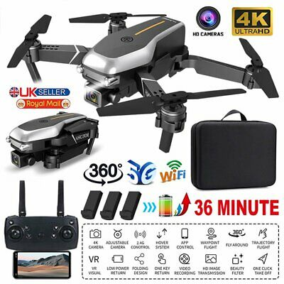 HD Dual Camera Drone 5G Wifi GPS RC Quadcopter 360° FPV Selfie Video 3 Batteries • 45.89£