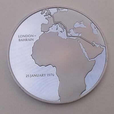 £24.50 • Buy 1976 Concorde London-Bahrain First Flight Silver Proof Medal By John Pinches