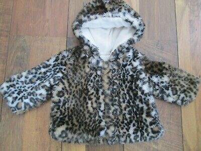 BABY GIRLS BLUE ZOO @ DEBENHAMS ANIMAL PRINT FUR COAT FLEECE LINED SIZE 3-6mths • 3.99£