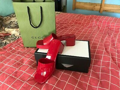 AU420 • Buy Gucci Womens Red Rubber Mules Shoes Size 37
