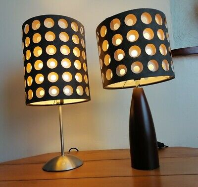 Retro Lamps Table Bedside Brown Creme Lampshades Set Of 2 Pre Owned  • 24.99£