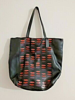 $ CDN46.02 • Buy New With Tags L'Wren Scott Black Leather Multicoloured Lip Tote Hand Bag