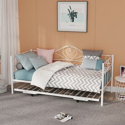 £68.99 • Buy New 3ft Single Metal Day Bed Frame Sofabed Guest Bed Metal Slatted In White
