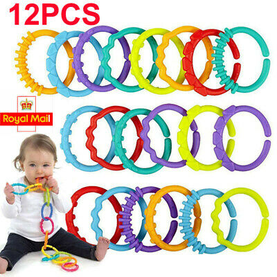 12pcs Rainbow Teether Ring Links Plastic Baby Kids Infant Stroller Play Mat Toys • 3.99£
