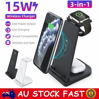 AU37.50 • Buy 3in1 Qi Wireless Charger Fast Charging Dock Stand For Airpods Apple Watch IPhone