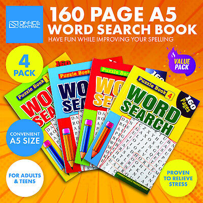 AU13.95 • Buy 4PK Word Search Activity Books A5 Brain Games Fun Relaxing 160pg