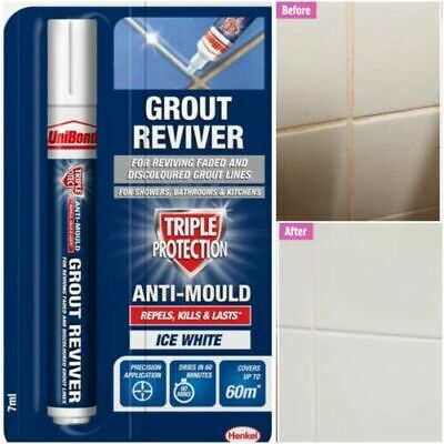 Unibond Grout Pen - Renew Grout Lines White Clean Fresh Refurbish Renovate  • 4.95£