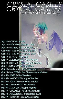 £14.87 • Buy CRYSTAL CASTLES  FALL 2017 NORTH AMERICA  CONCERT TOUR POSTER- Electropunk Music