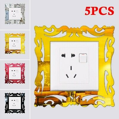 5x Acrylic Light Switch Surround Socket Plate Panel Cover Wall Sticker Decor • 6.41£