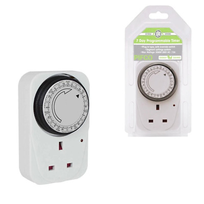 24 Hour Mechanical Immersion Heater Time Switch Socket Box Timer Analogue Lights • 9.99£