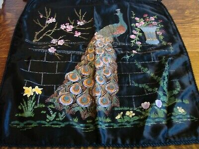 Large Vintage Antique Cushion Cover Hand Painted Peacock On Black Satin 21  X 21 • 25£