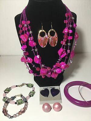 $ CDN28 • Buy Vintage To Modern Pink Purple Tone Jewelry Lot Duri Signed Pink Abalone Earrings