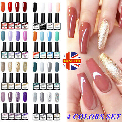 Nail Art Design Varnish Kit KOSKOE 4 Bottles Combo French Gel Polish Gift Set • 4.99£