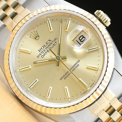 $ CDN6943.04 • Buy Rolex Mens Datejust 16233 Champagne Dial 18k Yellow Gold & Stainless Steel Watch