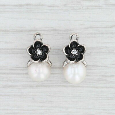 New Authentic Pandora Mystic Floral Pearl Earring Charms 290684P Sterling CZ • 53.76£