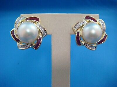 $950 • Buy 14k Yellow Gold Mabe Pearl Earrings With Natural Diamonds And Ruby,13.4 Grams