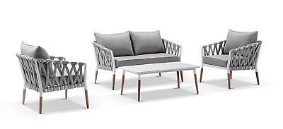 AU2490 • Buy NEW Silas Outdoor Ivory Rope Lounge Setting With Coffee Table | Patio Dining Set