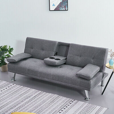 3 Seater Grey Linen Fabric Click-Clack Sofa Bed With 2 Drink Holders Chrome Legs • 139.99£