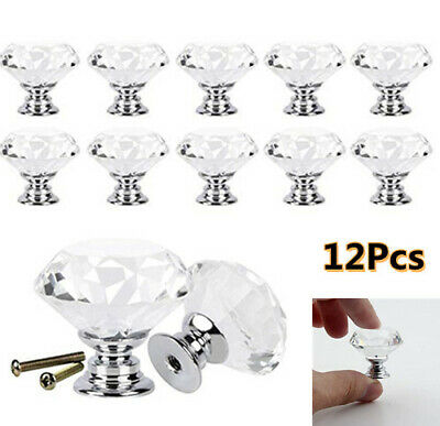 12X Clear Diamond Crystal Glass Door Knobs Drawer Wardrobe Cabinet Handles • 7.39£