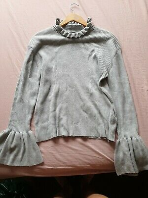 UK 20 Womens Long Sleeve Lace Shirt Ladies Knitted Jumper Blouse Tops • 4.99£