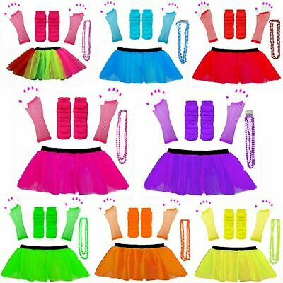 NEON 80s FANCY DRESS TUTU SET GLOVES LEG WARMERS AND BEADS HEN PARTY COSTUME • 1.99£