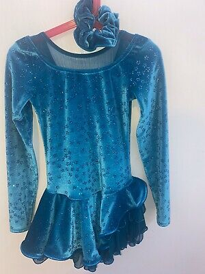 Girls Ice Skating Dress Blue Turquoise Competition From MONDOR Age 8-10 • 30£